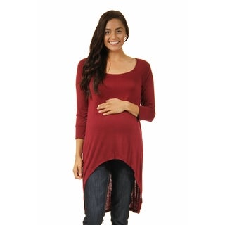 24/7 Comfort Apparel High-Low Maternity Tunic Top