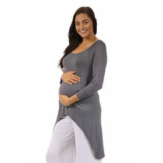 24/7 Comfort Apparel High-Low Maternity Tunic Top|https://ak1.ostkcdn.com/images/products/10227137/P17348227.jpg?impolicy=medium