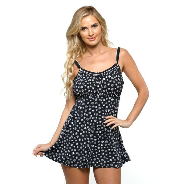 Shop It Figures Plus Size Black Peasant Swimdress Free Shipping