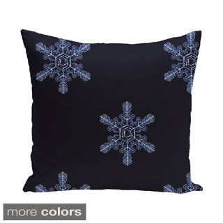 White/ Blue Decorative Holiday Print 18-inch Pillow