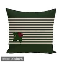 Red/ Green Decorative Holiday Stripe Print 18-inch Pillow