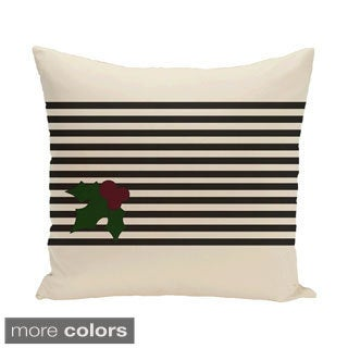 Red/ Black/ Green Decorative Holiday Stripe Print 18-inch Pillow