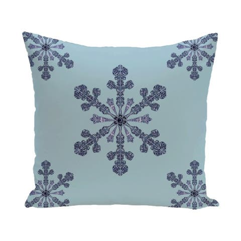 White/ Blue Decorative Holiday Pattern 20-inch Pillow