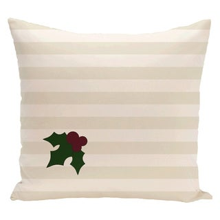 White Decorative Holiday Stripe Print 20-inch Pillow