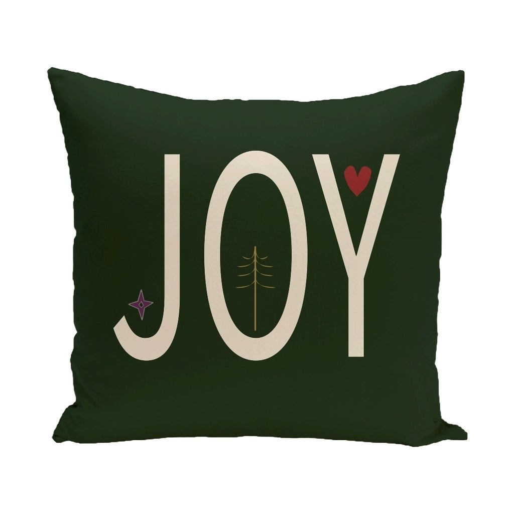 Green Decorative Holiday Word Print 20-inch Pillow (Dark Green)
