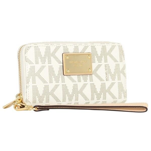 Michael Kors Vanilla Signature Large Coin Multifunction Phone Case Wallet
