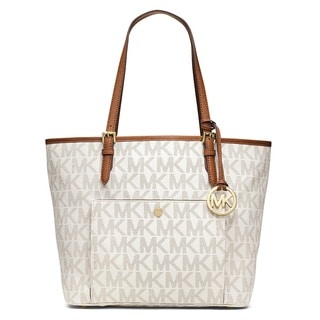 MICHAEL Michael Kors Jet Set Signature Large Snap Pocket Tote - Vanilla