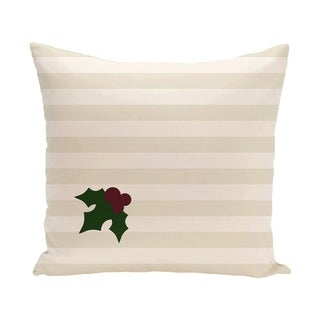 White Decorative Holiday Stripe Print 26-inch Pillow