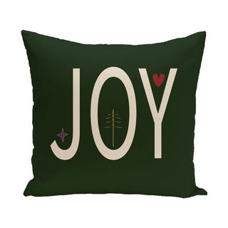 Green Decorative Holiday Word Print 26-inch Pillow
