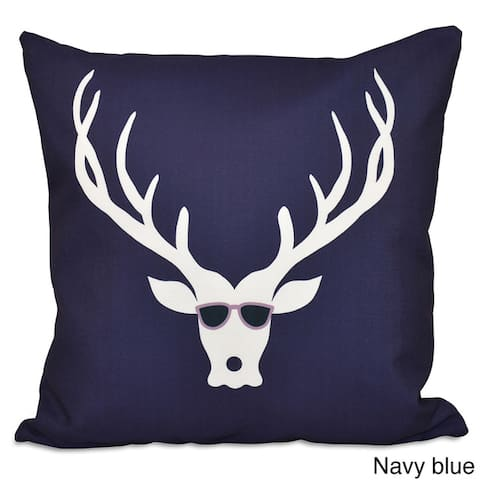 Blue/ Red/ Green Decorative Holiday Cool Deer Print 20-inch Pillow