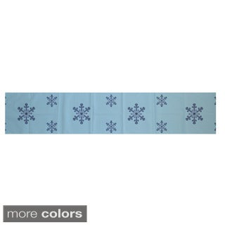 White/ Blue Decorative Holiday Pattern 16 x 90-inch Table Runner