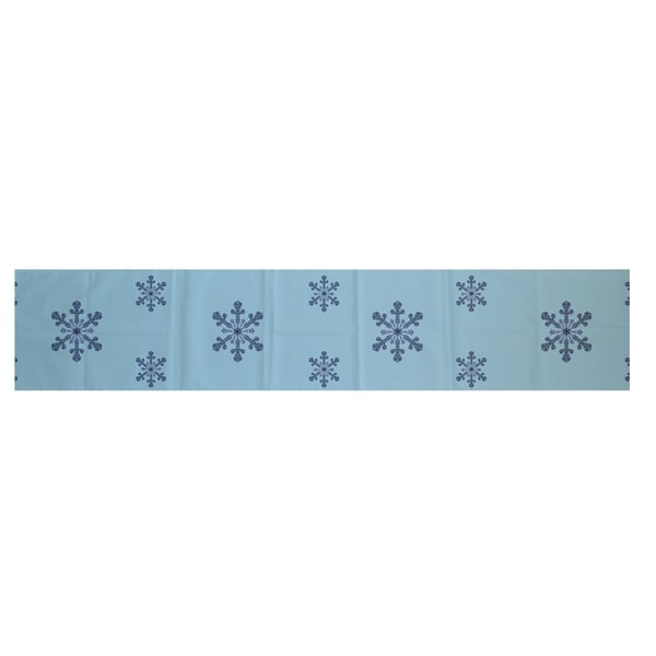 White blue decorative holiday pattern 16 x 90 inch table for Table runners 52 inches