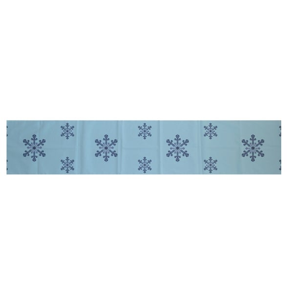 Shop White/ Blue Decorative Holiday Pattern 16 X 90 Inch Table Runner    Free Shipping Today   Overstock   10227372