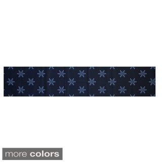 White/ Blue Decorative Holiday Print 16 x 90-inch Table Runner