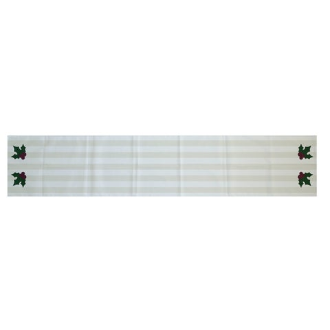 White Decorative Holiday Stripe Print 16 x 90-inch Table Runner