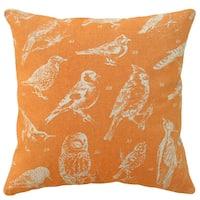 Orange Bird Watch Hand-printed 20-inch Linen Throw Pillow