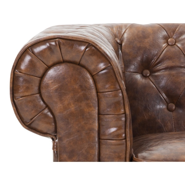 Quilted Leather Sofa  Avignon By Velago   Free Shipping Today    Overstock.com   17348369