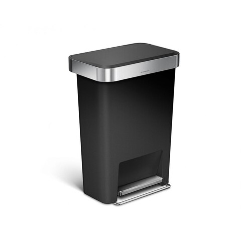 Simplehuman 45-liter Black Plastic Rectangular Step Can with Liner Pocket