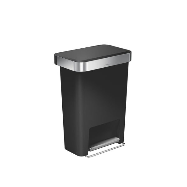 simplehuman 45 liter black plastic rectangular step can with liner pocket free shipping today. Black Bedroom Furniture Sets. Home Design Ideas