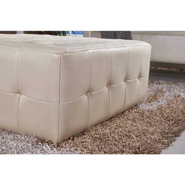 Cool Shop Classic Faux Leather Tufted Cocktail Ottoman Bench On Pabps2019 Chair Design Images Pabps2019Com