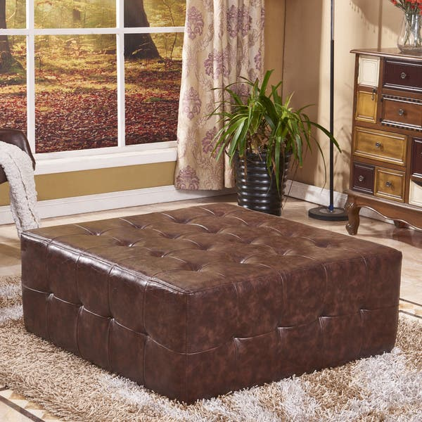 Outstanding Shop Classic Faux Leather Tufted Cocktail Ottoman Bench On Pabps2019 Chair Design Images Pabps2019Com