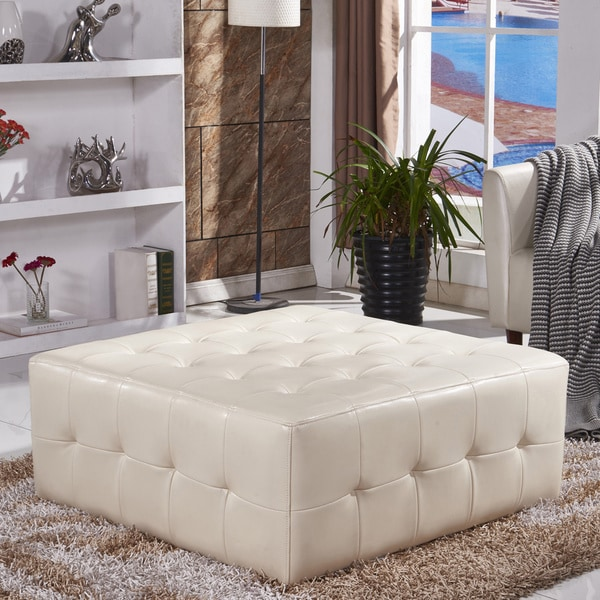 Shop Classic Faux Leather Tufted Cocktail Ottoman Bench
