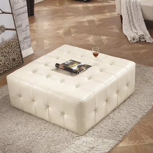 Amazing Shop Classic Faux Leather Tufted Cocktail Ottoman Bench On Pabps2019 Chair Design Images Pabps2019Com