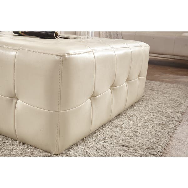 Peachy Shop Classic Faux Leather Tufted Cocktail Ottoman Bench On Pabps2019 Chair Design Images Pabps2019Com