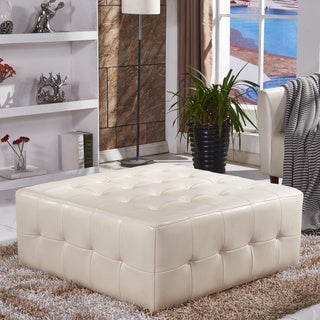 Classic Faux Leather Tufted cocktail Ottoman Bench