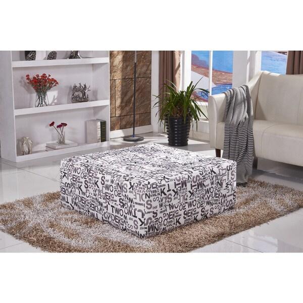 Shop Modern Letter Pattern Fabric Ottoman Bench