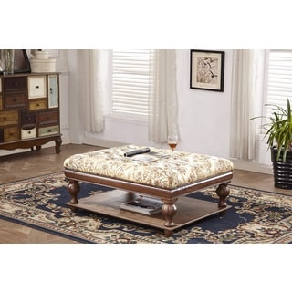Classic Solid Wood Golden Floral Tufted Ottoman Bench