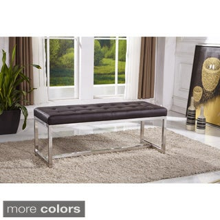 Signature Designs Royal Modern Stainless Steel Tufted Bench