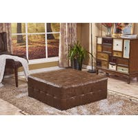 Classic Square Faux Leather Tufted Cocktail Ottoman Bench