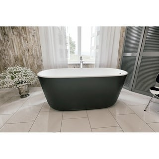 Aquatica Lullaby-Blck-Wht Freestanding Solid Surface Bathtub