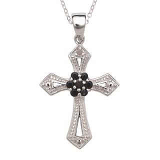 La Preciosa Sterling Silver Diamond Accent and Black Sapphire Cross Necklace