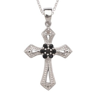 La Preciosa Sterling Silver Diamond Accent and Black Sapphire Cross Necklace