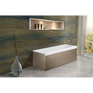 Pure 1L Back To Wall Solid Surface Bathtub with Light Decorative Wooden Side Panels