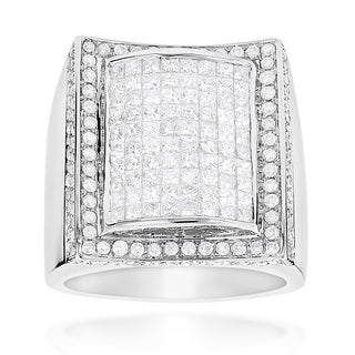 14k White Gold Men's 3 3/4ct TDW Round and Princess-cut Diamond Ring