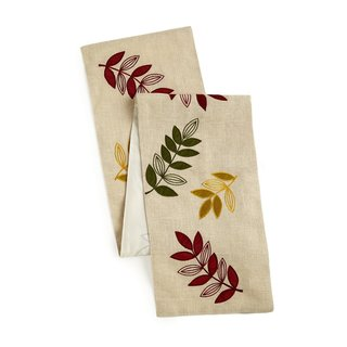 Celebration Multi Leaves Embroidered Jute Table Runner
