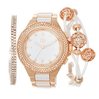Fortune NYC Arm Candy Ladie's Fashion Rose & White Watch with a Set of 2 Bracelets