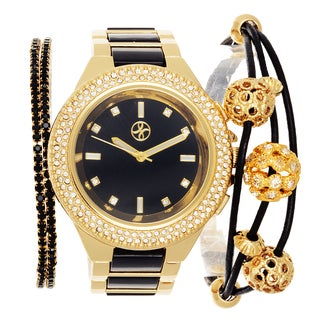 Fortune NYC Arm Candy Ladie's Fashion Gold & Black Watch with a Set of 2 Bracelets