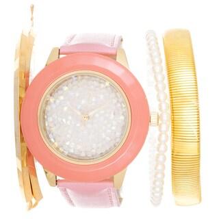 Via Nova Arm Candy Ladie's Fashion Pink Watch with a Set of 3 Bracelets