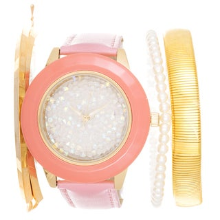 Via Nova Arm Candy Ladie's Fashion Pink Watch with a Set of 3 Bracelets
