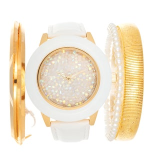 Via Nova Arm Candy Ladie's Fashion White Watch with a Set of 3 Bracelets