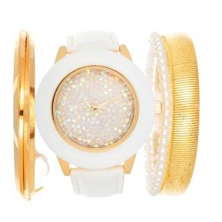 Via Nova Arm Candy Ladie's Fashion White Watch with a Set of 3 Bracelets