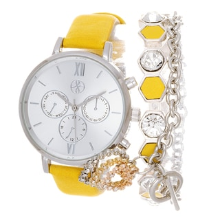 Fortune NYC Arm Candy Ladie's Fashion Yellow Watch with a Set of 2 Bracelets