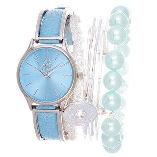 Fortune NYC Arm Candy Ladie's Fashion Blue Watch with a Set of 3 Bracelets