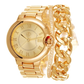 Fortune NYC Arm Candy Ladie's Fashion Gold Watch with a Set of 2 Bracelets