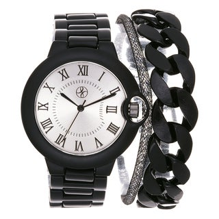 Fortune NYC Arm Candy Ladie's Fashion Black Watch with a Set of 2 Bracelets