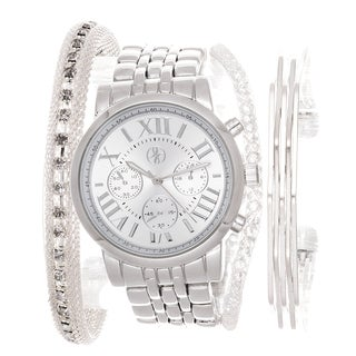 Fortune NYC Arm Candy Ladie's Fashion Silver Watch with a Set of Bracelets